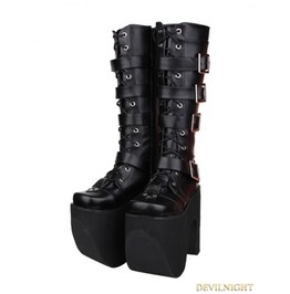 Black Gothic Punk Pu Leather Lace Up Belt High Heel Knee Boots
