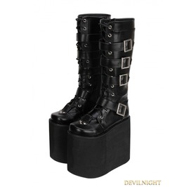 Black Gothic Punk Pu Leather Lace Up Belt Platform Knee Boots 9708