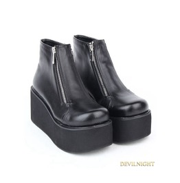 Black Gothic Pu Leather Zipper Platform Ankle Boots
