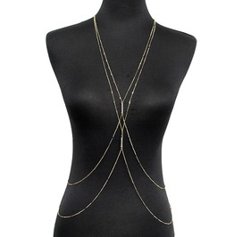 Gold Double Rhinestones Inlay Beach Necklace Body Chain Jewelry