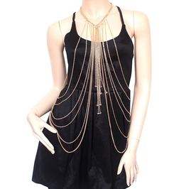 Gold Long Body Chain Necklace Crystal Statement Beads Tassel Jewelry