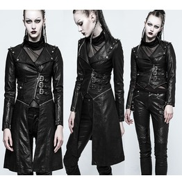 Women Gothic Long Coat Ladies Leather Jacket Full Sleeve Leather Long Coat