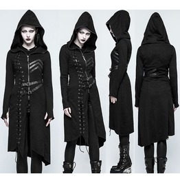 Punk Women Sweater Coat Steampunk Black Hooded Long Coat Women Gothic Jacke