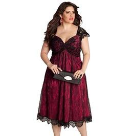 Vintage Retro Lace Embellished Red Black Solid Patchwork Midi Dress