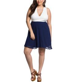 Deep V Neck Plus Size Blue & White Patchwork High Waist Hollow Back Dress