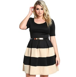 Autumn Short Sleeve Stripes Detail Belted Plus Size Skater Dress