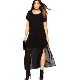 Black Chiffon Overlay Maxi Dress Plus Size Robe