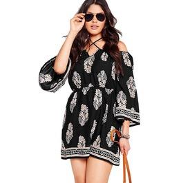 Plus Size Floral Print Bardot Neck Black Off Shoulder Dress