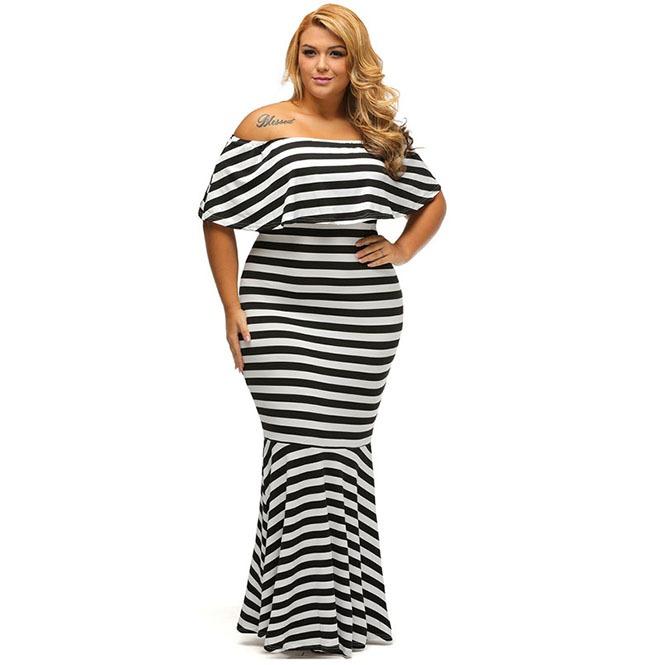 Striped Ruffle Tube Plus Size Mermaid Party Maxi Dress