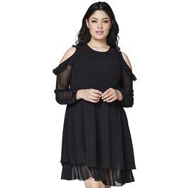 Goth Black Cold Shoulder Ruffle Chiffon Long Sleeve Plus Size Women Dress