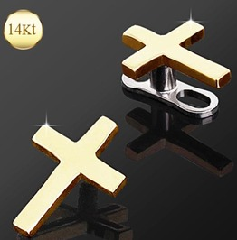 14 Kt Yellow Gold Cross Dermal Top Jewelry