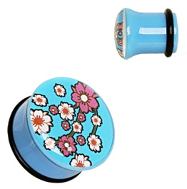 Uv Acrylic Oriental Flower Single Flare Plug With O Ring