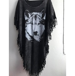 Fox Wolf Punk Hippie Batwing Tussle Fringes Stone Wash Poncho