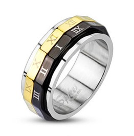 Black & Gold Roman Numeral Dual Spinner Ring