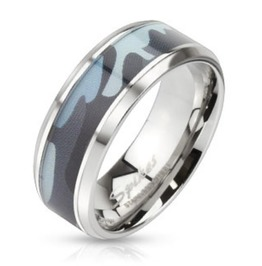 Camouflage Inlay Stainless Steel Beveled Edge Ring