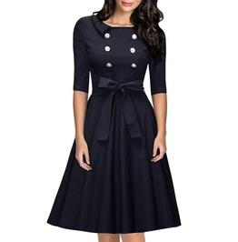 Dark Blue Vintage Retro Audrey Hepburn 50's 60's Big Hem Button Party Dress