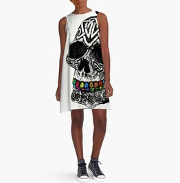 Punk Rock O Neck White Black 3 D Printed Skull Sleeveless Loose Dress