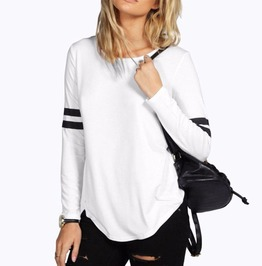 Autumn Punk Rock Stripes Long Sleeve Loose Hipster Top T Shirt Women