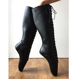 Pointe (No Zip) Heelless Laceup Knee Hi Ballet Fetish Pain Boot Black Matte