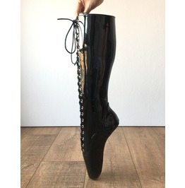 Pointe (W/Zip) Heelless Laceup Knee Hi Ballet Fetish Pain Boot Black Patent