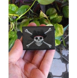 Jolly Roger Pin. Wooden Brooch With Pirate Skull Illustration. Pirate Flag.