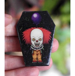 Pennywise Coffin Shaped Pin. Wooden Brooch.