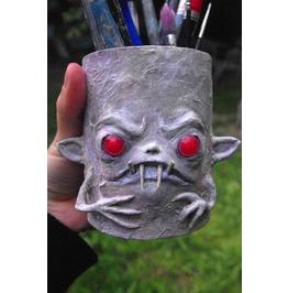 Albino Monster Pencil Holder. Hand Decorated Desk Jar.