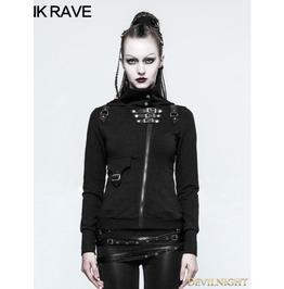 Black Gothic Punk Slim Sweater With Hood Y 789