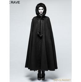 Black Winter Gothic Long Fur Cloak For Women Y 790