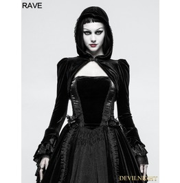 Black Gothic Velvet Short Jacket For Women Y 820
