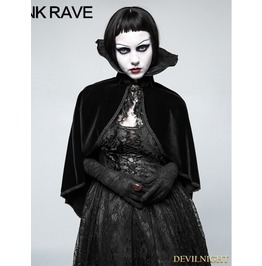 Black Gothic Positioning Necktie Cloak For Women Y 782
