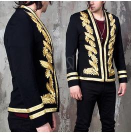 Gold Laurel Embroidered Black Slim Blazer Jacket 271