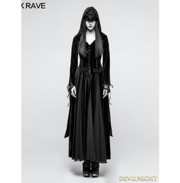 Black Gothic Dark Goddess Long Coat For Women Y 797