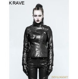 Black Gothic Punk Pu Leather Short Jacket For Women Opy 215