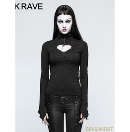 Black Gothic Basic Long Hollow Out T Shirt For Women T 481