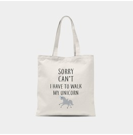 I'm Walking My Unicorn Canvas Tote Bag