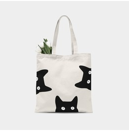 Peeking Cats Canvas Tote Bag