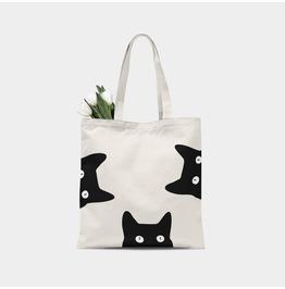 Peeking Cats Canvas Tote Bag