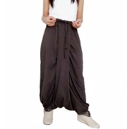 Brown Drop Crotch Harem Pants,Asymmetrical In Cotton Jersey Pants P46