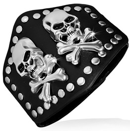 Genuine Black Leather Pirate Skull Crossbones Stud Snap Wristband Bracelet