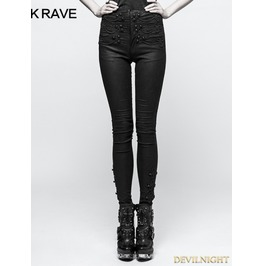 Black Gothic Tie Rope Thickened Leggings For Women K 294