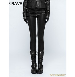 Black Gothic Punk Buckle Belt Skinny Leggings For Women K 299
