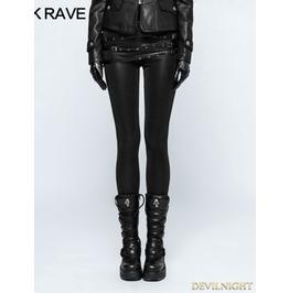Black Gothic Punk Buckle Belt Skinny Leggings For Women K 299