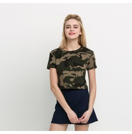 Womens Casual Camouflage Crop Top