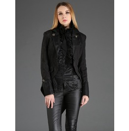 Black Vintage Gothic Dovetail Jacket For Women M080029 A
