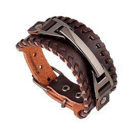 Men's Punk Retro Black Braided Leather Belt Buckle Bracelet