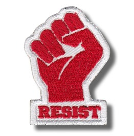 Resist, Fist Red/White , Embroidered Patch, 4 X 6 Cm.