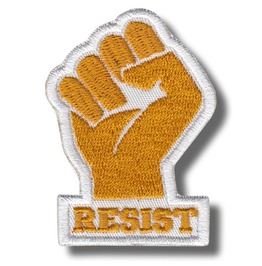 Resist, Fist Yellow/White , Embroidered Patch, 4 X 6 Cm.