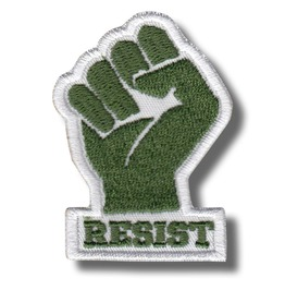 Resist, Fist Green/White , Embroidered Patch, 4 X 6 Cm.