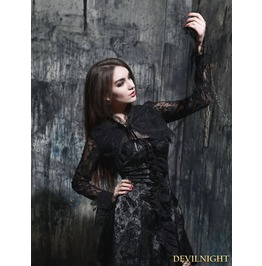 Black Gothic Long Sleeves Lace Short Cape M080013